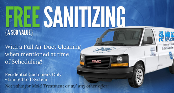 FREE Sanitizing {a $50 Value} with a Full Air Duct Cleaning when mentioned at time of Scheduling!